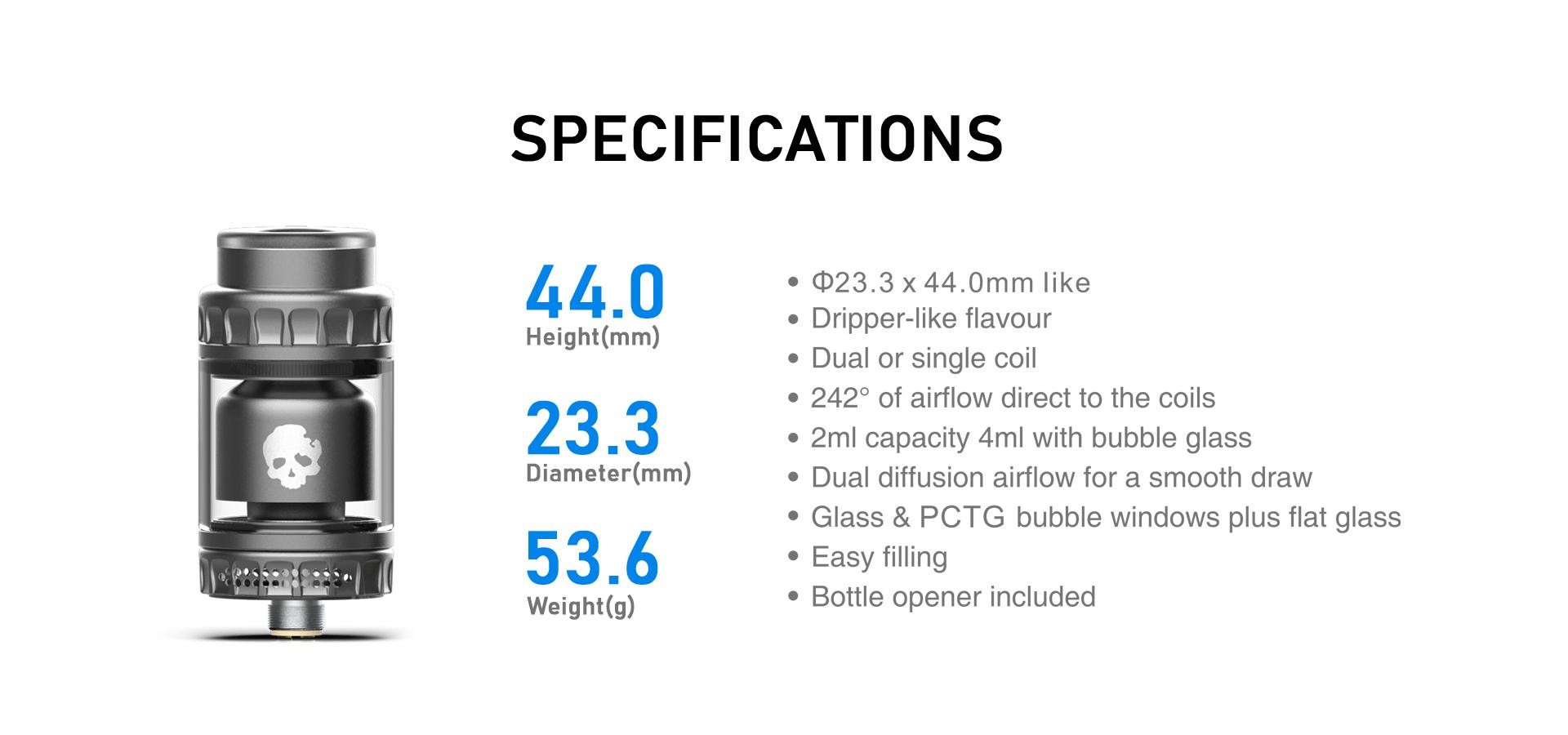 Blotto Mini RTA Specifications