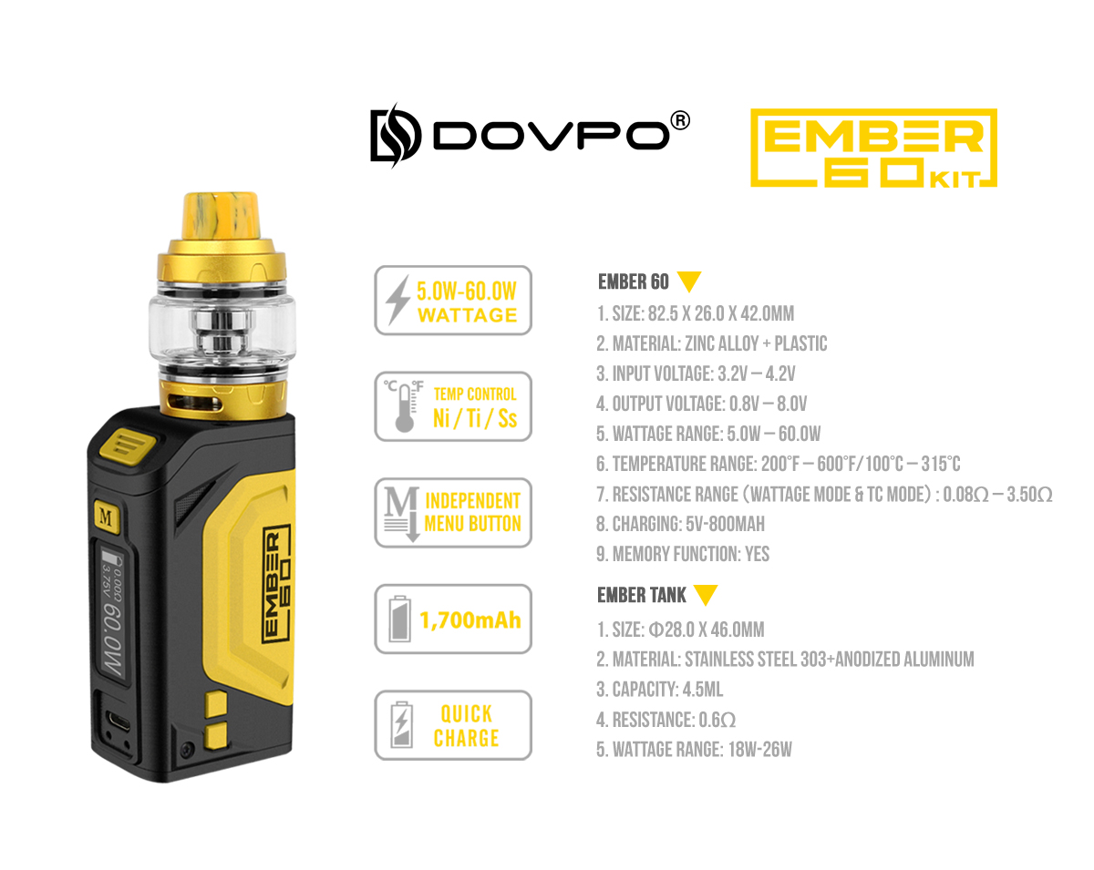 Dovpo Ember 60W TC Box Mod Kit Specifications
